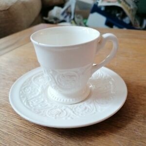Antique Wedgwood Patrician Cream Embossed Cup and Saucer