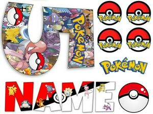 POKEMON INSPIRED NAME AND NUMBER PERSONALISED CAKE EDIBLE ICING TOPPER