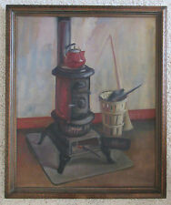 LUELLA C. CLARK ANTIQUE 1930'S OLD STOVE INTERIOR STILL LIFE OIL PAINTING SIGNED