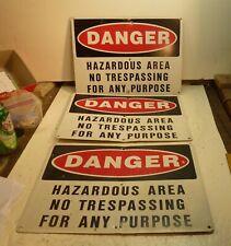 New listing Three (3) Painted Metal Mining Danger Signs - Hazardous No Trespassing
