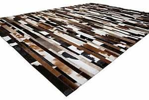 Tricolor Cowhide Patchwork Rug Leather Hides Rug Striped Design Area Rug Cowskin