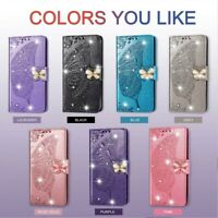 For Motorola Moto G7 Power/P40/Z4 Play Wallet Stand Crystal Butterfly Case Cover