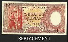 INDONESIA 100 RUPIAH 1958 REPLACEMENT STAR P # 59* UNC