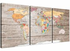 Large Decorative Map of World Atlas Canvas Wall Art Print - Multi 3 Part - 3326