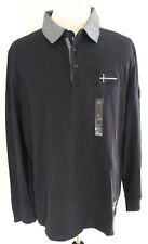 Nautica Mens 2X Pullover Polo Rugby Shirt Long Sleeve Navy Blue Casual Cotton