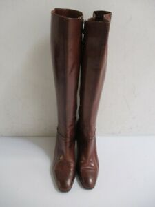 Vintage FERRAGAMO 18-Inch Brown Leather Boots Size 7.5 B