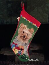 Yorkie Dog Needlepoint Christmas Stocking NWT