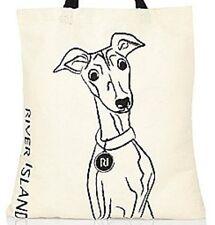 ~New Whippet Greyhound Ig Italian Beige River Island Shopper Tote Bag - Adorable