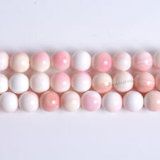 8MM191 8mm Pink Queen Conch shell round loose beads 15.5""