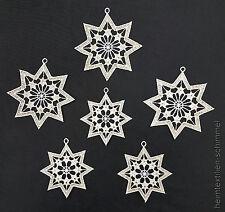 PLAUENER SPITZE ® Fensterbild 6er Set WINTER Weihnachten STERNE Baumbehang gold