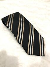 Authentic GUCCI Silk Men Business Tie In Gold & Silver Stripes - Made In Italy