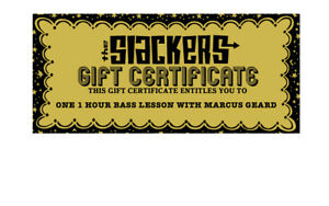 GOLDEN TICKET :redeemable for ONE 1HR BASS LESSON (via zoom) w SLACKERS MARCUS G