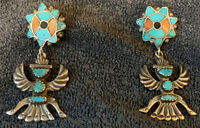 Zuni Horace Iule Cast Sleeping Beauty Turquoise Knifewing Earrings w Inlaid Top