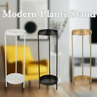 2-Tier Metal Tall Plants Stand with 2 Round Tray Potted Plant Holder Home Decor