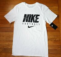 Nike MEN'S Athletic Fit SWOOSH Football Tee TRAINING T-SHIRT Cotton White Black