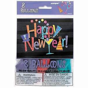 New Year Balloons Countdown New Years Eve Party Decorations  8 Latex Balloons