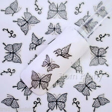 Nail Art Lace Stickers Decals Transfers BLACK Lace Butterflies Design H1