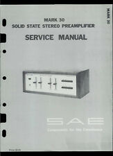 Rare Original Factory SAE Mark MK 30 Stereo Amp Amplifiers Service Manual