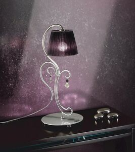 Bedside Lamp Lumetto Classic With Crystal Silver And Lampshade Black