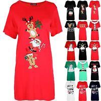 Womens Ladies Baggy Oversized Gingerbread Climb Xmas Christmas Tee Shirt Dress
