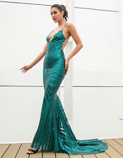 Impresionante Vestido De Lentejuelas estilo Sirena Vestido de cola de pescado Verde UK 12 Medio Graduación Pagent