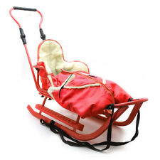 Piccolino Set Rot Kinderschlitten Babyschlitten Fußsack Schiebegriff Schlitten