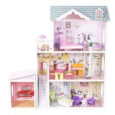 XXL Holz Puppenhaus Barbiehaus Traumhaus Puppenstube Set mit Möbeln 3 Etagen 08