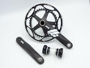 Barelli 'Carbon Finish' Race 2pc 24mm Road Bike Crankset Alloy 172.5 + Ext BB