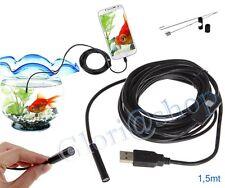 1,5 MT TELECAMERA ENDOSCOPICA USB ISPEZIONE SONDA FLESSIBILE CAMERA LED ANDROID