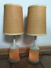 2 Vintage Mid Century Danish Wicker Pair of Boudoir Table Lamps With Nightlight