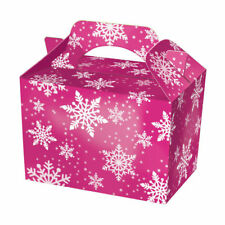 10 Purple Snowflake Party Boxes - Food Loot Lunch Cardboard Gift Frozen