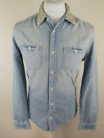 Mens all Saints Death Valley Denim Chambray Shirt Blue Small 38 Chest