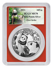 2021 China 30 g Silver Panda ¥10 Coin Pcgs Ms70 Fs Red Core Custom Panda Label