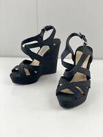 Tony Bianco Womens Adjustable Wedge Heel Open Toe Sandal Shoes Size 6 Black