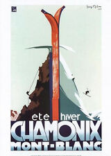 CHAMONIX SPRING-WINTER CLIMBING-SKIING c.1933 French Alps Vintage Poster Reprint