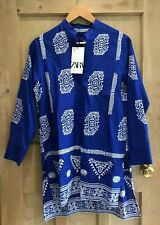 Zara blouse EMBROIDERY size XS 6 8 BLUE white floral PRINT BNWT