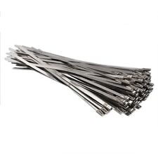 100pcs Stainless Steel Locking Cable Zip Ties Silver (4.6x300mm) F6