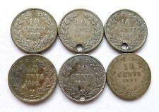 NETHERLANDS 10 CENTS X 6: WILLEM III 1878 1882 1890, WILHELMINA 1892 1895 1901.