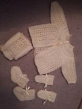 NEW Hand knitted matinee cardigan hat mittens booties baby 0-3m yellow set girl