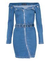Women's Front Zip Denim Mini Bodycon Bardot Dress Stretch Off Shoulder Jean