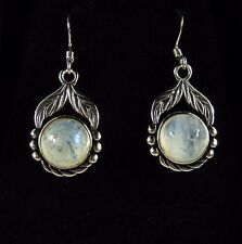 4.40 ct Natural Moonstone Sterling Silver Antique Finish Dangle Hook Earrings