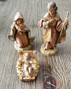 """1991 Fontanini Italy Heirloom Nativity 5"""" Mary Joseph & Baby Jesus 4 Piece Set"""