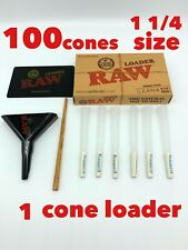 elements organic rice cone 1 1/4 size cone(100 pack)+ raw 1 1/4 cone loader