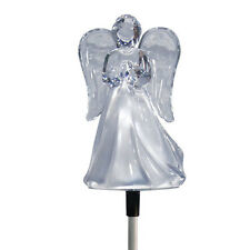 Solar Powered Angel w/ Frosted Skirt Garden Stake Color Change LED Light