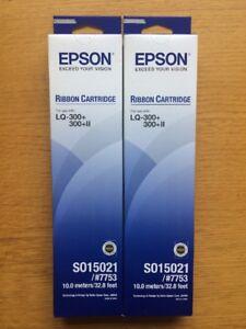 2 x Epson S015021 #7753 Ribbon Cartridge LQ-300+ 300+II OEM 15021 VOSA MOT New