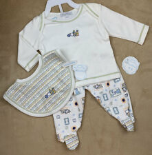 NWT~BOUTIQUE~KISSY KISSY~SLEEPY DOG~HUNGRY DOG~3 PIECE~FOOTIE~SET~BIB~0-3 MO
