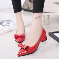 Women's Pointed Toe Chunky Heels Bow Party Casual Pump Fashion Shoes US Sz8