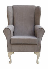 Wingback Fireside Chair in a Topaz Mink Fabric - Brand New
