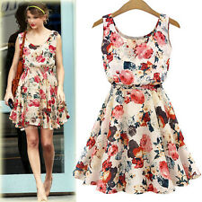 New Summer Women Print Floral Casual Chiffon Sleeveless Pleated Mini Beach Dress