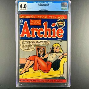 "ARCHIE COMICS  #50   KEY ""HEADLIGHTS"" Issue!!  CGC Grade"